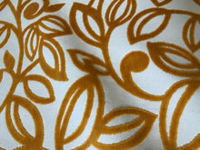 Load image into Gallery viewer, Mustard Gold Yellow Ochre Beige Cut Velvet Upholstery Fabric Retro Mod Floral / Fiore