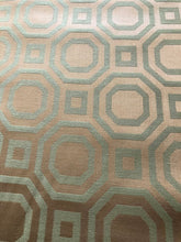 "Load image into Gallery viewer, 54"" Wide Olive Green Dark Gold Geometric Trellis Drapery Fabric Home Decor / Lotus"