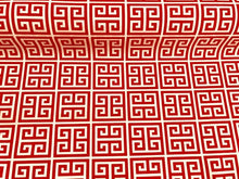 Load image into Gallery viewer, Waterproof Outdoor Orange White Greek Key Pattern Print Geometric UV Water Resistant Upholstery Fabric