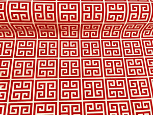 Waterproof Outdoor Orange White Greek Key Pattern Print Geometric UV Water Resistant Upholstery Fabric