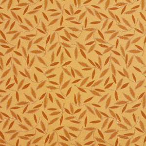 Essentials Yellow Gold Leaf Branches Upholstery Drapery Fabric / Amber