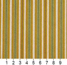 Load image into Gallery viewer, Essentials Yellow Lime White Blue Upholstery Fabric / Spring Stripe