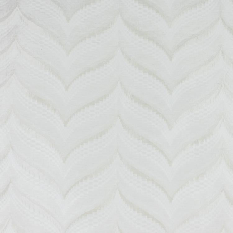Zenith Ivory Geometric Textured Chevron Checkered Cotton Linen Drapery Fabric