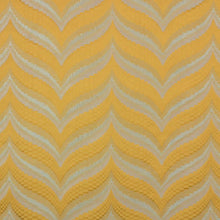 Load image into Gallery viewer, Zenith Yellow Silver Geometric Textured Chevron Checkered Cotton Linen Drapery Fabric