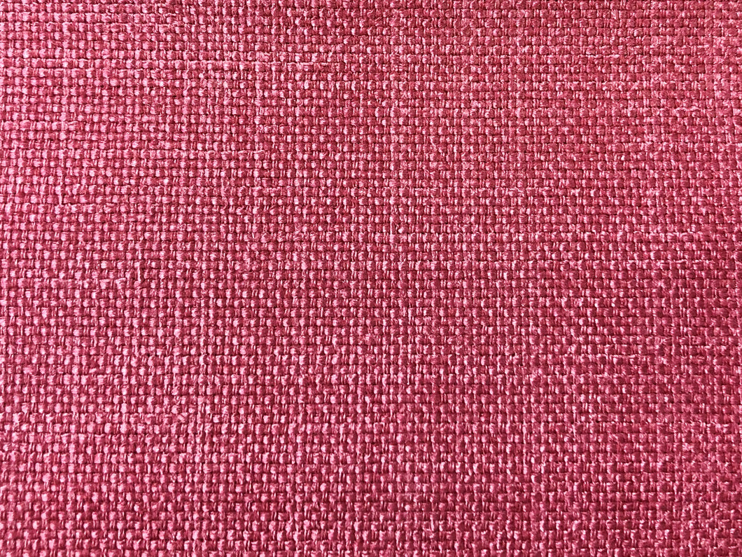 Mid Century Modern MCM Faux Linen Glazed Textured Watermelon Hot Pink Berry Red Raspberry Fire Upholstery Drapery Fabric RMC-SMII
