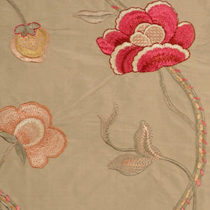 Embroidered Silk Floral Drapery Fabric / Dune / U204