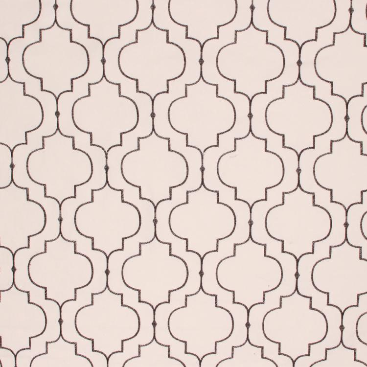 Cotton Embroidered Drapery Fabric Trellis Beige Lilac / Black RMIL1