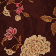 Load image into Gallery viewer, Embroidered Silk Floral Drapery Fabric / Chocolate / U222