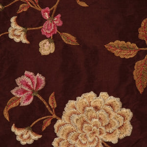 Embroidered Silk Floral Drapery Fabric / Chocolate / U222