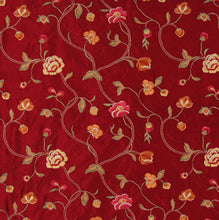 Load image into Gallery viewer, Embroidered Silk Floral Drapery Fabric / Sangria / U204