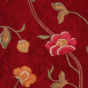 Embroidered Silk Floral Drapery Fabric / Sangria / U204