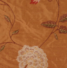 Load image into Gallery viewer, Embroidered Silk Floral Drapery Fabric / Clay / U222