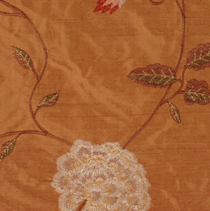 Embroidered Silk Floral Drapery Fabric / Clay / U222