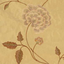 Load image into Gallery viewer, Embroidered Silk Floral Drapery Fabric / Wheat / U222