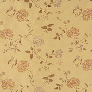 Embroidered Silk Floral Drapery Fabric / Wheat / U222