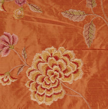 Load image into Gallery viewer, Embroidered Silk Floral Drapery Fabric / Persimmon / U222
