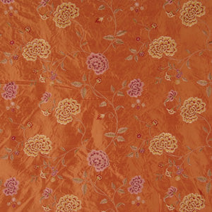 Embroidered Silk Floral Drapery Fabric / Persimmon / U222