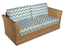 Load image into Gallery viewer, Essentials Outdoor Upholstery Drapery Сhevron Fabric / Blue Beige White