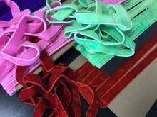 "Load image into Gallery viewer, 5/8"" (16 mm) Double Faced Velvet Ribbon / Green / Purple/ Pink / Rusty Red"