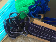 "Load image into Gallery viewer, 5/8"" (16 mm) Double Faced Velvet Ribbon / Aqua / Purple/ Royal Blue / Green"