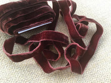 "Load image into Gallery viewer, 5/8"" (16 mm) Double Faced Velvet Ribbon / Aubergine"