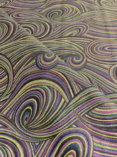 Load image into Gallery viewer, Abstract Mod Swirl Pattern Purple Black Chartreuse Green Navy Blue Drapery Upholstery Drapery Fabric
