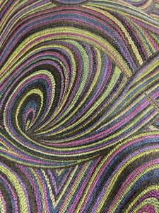 Abstract Mod Swirl Pattern Purple Black Chartreuse Green Navy Blue Drapery Upholstery Drapery Fabric
