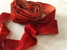 "Load image into Gallery viewer, 2"" (50 mm) Single Faced Velvet Ribbon / Burnt Orange"