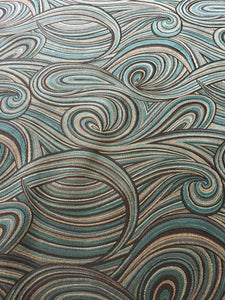 Abstract Mod Swirl Pattern Nautical Teal Black Aqua Drapery Upholstery Drapery Fabric