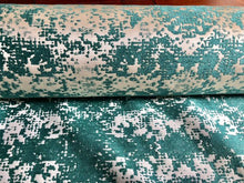 Load image into Gallery viewer, Abstract Off White Cream Ivory Turquoise Teal Reversible Velvet Chenille Upholstery Drapery Fabric