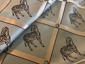 Zebra Animal Pattern Geometric Upholstery Drapery Fabric Beige Aqua Navy Blue / La'France