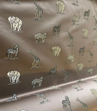 Load image into Gallery viewer, Cafe Au Lait Zebra Elephant Cheetah Giraffe Animal Upholstery Drapery Fabric