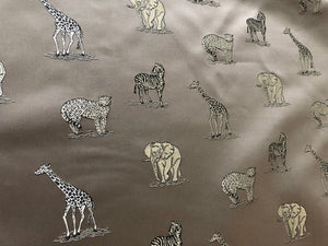 Cafe Au Lait Zebra Elephant Cheetah Giraffe Animal Upholstery Drapery Fabric