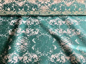 Abstract Off White Cream Ivory Turquoise Teal Reversible Velvet Chenille Upholstery Drapery Fabric
