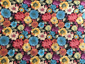 Floral Cotton Drapery Fabric Black Aqua Rusty Red Yellow Blue Sage Green Mustard Yellow Magenta