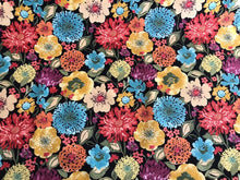 Load image into Gallery viewer, Floral Cotton Drapery Fabric Black Aqua Rusty Red Yellow Blue Sage Green Mustard Yellow Magenta