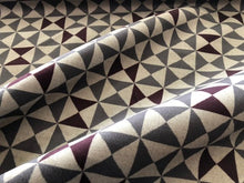 Load image into Gallery viewer, Papelli Velvet Triangle Geometric Upholstery Fabric Gray Brown Art Deco Mid Century Modern