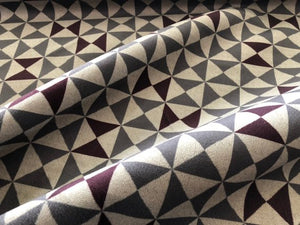 Papelli Velvet Triangle Geometric Upholstery Fabric Gray Brown Art Deco Mid Century Modern