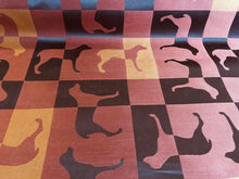 Load image into Gallery viewer, Waterproof Orange Red Brown Dog Pattern Geometric Upholstery Fabric Mid Century Modern