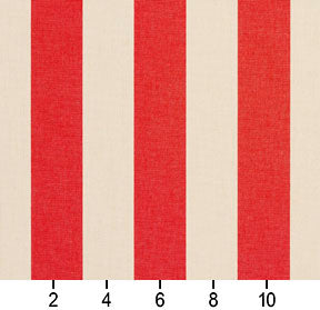 Essentials Outdoor Red Stripe Upholstery Fabric / Poppy
