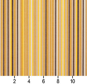 Essentials Indoor Outdoor Brown Beige Yellow Tan Stripe Upholstery Fabric / Sunflower