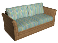 Load image into Gallery viewer, Essentials Indoor Outdoor Lime Green Turquoise Denim Blue Stripe Upholstery Fabric / Meadow