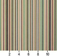 Load image into Gallery viewer, Essentials Indoor Outdoor Green Brown Sage White Apricot Beige Stripe Upholstery Fabric / Pesto