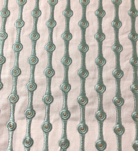 Peretti Embroidered Geometric Graphic Linen Cotton Blend Drapery Fabric / Minthe