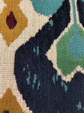 Load image into Gallery viewer, Kasbah Red Teal Blue Mustard Upholstery Ikat Chenille Fabric / Jewel