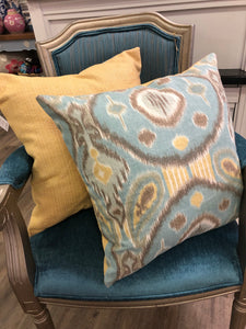 "19"" x 19"" Handmade Blue Yellow Gray Ikat Linen Cotton Pillow Cover"