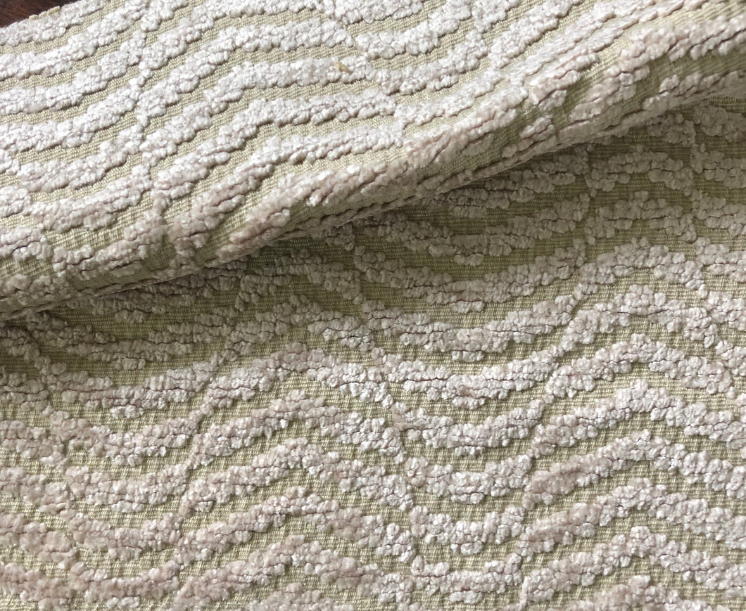 Amalfi Stripe Wave Chenille Upholstery Fabric Beige / Fawn