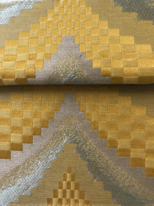 Zenith Yellow Silver Geometric Textured Chevron Checkered Cotton Linen Drapery Fabric