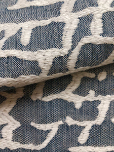 Light Denim Blue Off White Abstract Upholstery Drapery Fabric / Denim