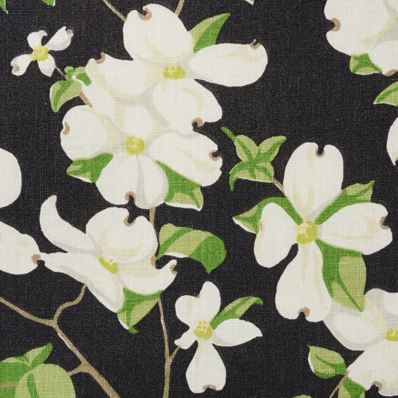 Schumacher Blooming Branch Upholstery Drapery Fabric / Black
